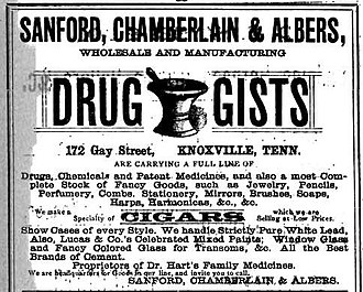 Edward J. Sanford - Sanford, Chamberlain and Albers advertisement, 1884