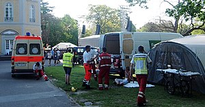 Paramedics in Germany - Paramedics volunteering in first aid service at an outdoor convention