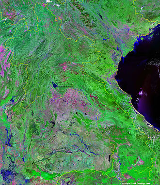 Outline of Laos - An enlargeable false color satellite image of Laos