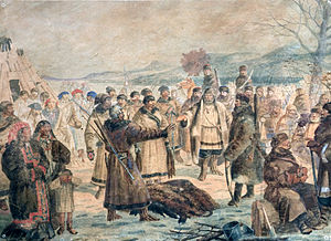 Fur trade - Cossacks collecting yasak in Siberia
