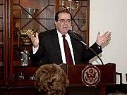 Scalia speaking at residence of Ambassador to Israel, Richard Jones