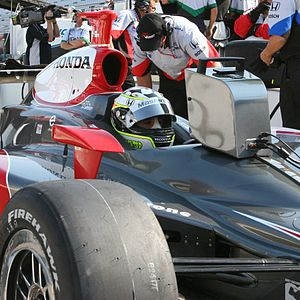 Tomas Scheckter - Scheckter watches practice speeds while waiting for his turn to qualify for the 2007 Indy 500. Photo by Tim Wohlford.