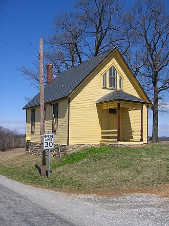 Felton, Pennsylvania - A frame school building on a stone foundation at Trout School Road and Rambo Hill Road in Felton