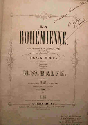 The Bohemian Girl - Title page of a French printed score (1869)