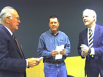 Tom Campbell (California politician) - Campbell (right) with Intel founder Gordon Moore and Sun founder Scott McNealy