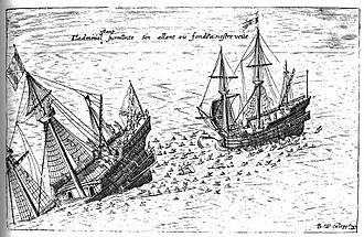 Antonio de Morga - Illustration of 1603 representing the combat of the San Diego of Morga against the Mauritius of Van Noort