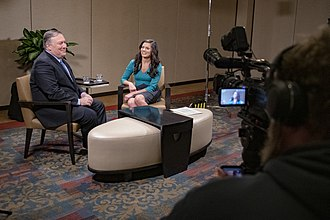 WOI-DT - Secretary of State Mike Pompeo is interviewed by Sabrina Ahmed in March 2019