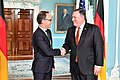 Secretary Pompeo Shakes Hands With German Foreign Minister Maas (27438995307).jpg