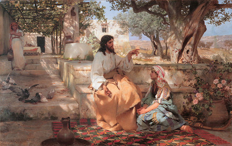 "Christ with Martha and Mary (1886) by Henryk Siemiradzki, showing the conflated ""composite Magdalene"" sitting at Jesus's feet while her sister Martha does chores. Many authors have speculated about Jesus and Mary's relationship, with some claiming she had an especially close relationship to him or that they were married. Semiradsky Christ Martha Maria.jpg"