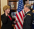 Senator Stabenow administers the Oath of Office to Colonel Rau (6518260053).jpg