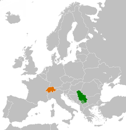 Map indicating locations of Serbia and Switzerland