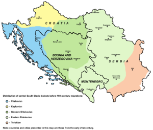 Shtokavian - Serbo-Croatian dialects prior to the 16th-century migrations, distinguishing Western and Eastern Shtokavian