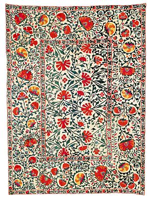 Shahrisabz - Shakhrisyabz suzani, first half of 19th century. Suzanis played a central role in the lives of the people of Uzbekistan. This suzani derives its particular appeal from its high proportion of light and brilliant colours: golden yellow, orange, ochre and light blue. Sold for EUR 39,000 in 2015.