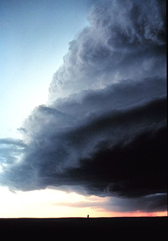 Supercell - A low precipitation supercell shelf cloud. Shelf cloud forms when a cooler air mass under-flows the warmer moisture laden air.
