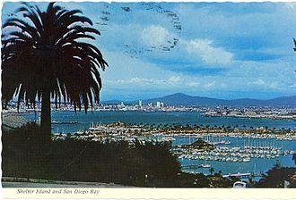 Shelter Island, San Diego - A 1960s era postcard shows Shelter Island (marked by a row of palm trees) jutting out into San Diego Bay