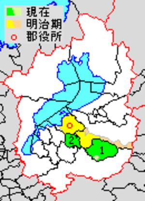 Gamō District, Shiga - Map of Gamo District with Meiji period (1890) area in yellow, modern area in green.