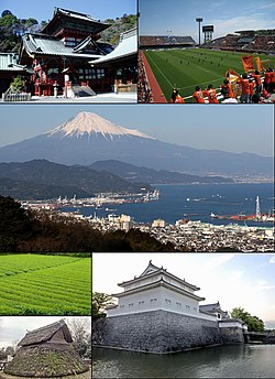 Tap left: Shizuoka Sengen Shrine; Tap richt: Nihondaira Stadium Middle: Munt Fuji & Shimizu Port frae Nihondaira Upper bottom left Green tea fields; Lawer bottom left Toro ruins; Bottom richt: Tatsumi yagura o Sunpu Castle