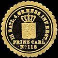 Siegelmarke III. Batallion 4. Gr. Hessisches Infanterie Regiment Prinz Carl No. 118 W0283644.jpg