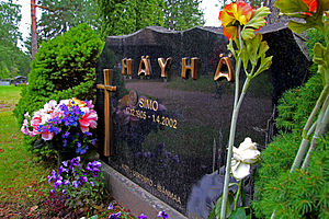 Simo Häyhä - Simo Häyhä's gravestone in Ruokolahti Church Graveyard, Karelia, Finland. The inscription reads: Home - Religion - Fatherland