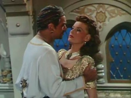Douglas Fairbanks Jr. and O'Hara in the trailer for Sinbad the Sailor, 1947 Sinbad the Sailor (1947) trailer 1.jpg