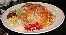 Un piatto di Yusheng