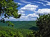 View from a lookout of green tree-covered mountains under a blue sky with white clouds