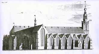 Sint Janskerk - The St. Jans or Groote kerk in the city Gouda - (1714) From: Description of the city Gouda, by Ignatius Walvis