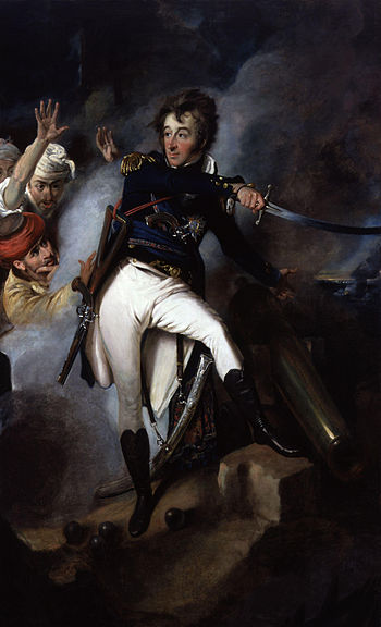 A painting reflecting a British view, assigning the main heroic role at the Acre siege to Admiral Smith and relegating the Turks to a secondary role Sir William Sidney Smith by John Eckstein.jpg