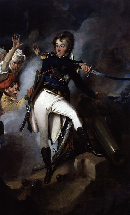 Commodore Smith at Acre. On his left breast one can see the star of the Order of the Sword. Sir William Sidney Smith by John Eckstein.jpg