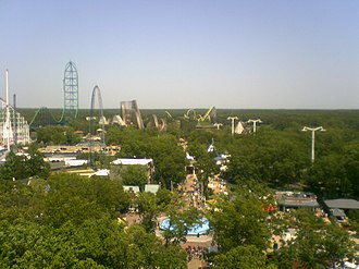 Six Flags Great Adventure - View of Great Adventure from the top of the Ferris wheel, looking southeast