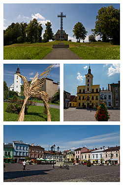 Top: Papal Cross on Kaplicówka Hill. Centre left: Pegasus statue in front of St Peter and Paul's Church. Centre right: Town Hall. Bottom: Main Square