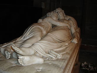 Lichfield Cathedral - The Sleeping Children by Francis Chantrey (1817), portrays two young sisters, Ellen-Jane and Marianne, who died in tragic circumstances in 1812
