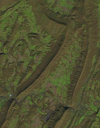 Snake Spring Township, Bedford County, Pennsylvania - 2016 Landsat image of Snake Spring valley