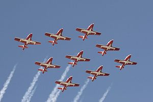 Snowbirds Diamond formation Canadian Air Show-2007-09-02.jpg