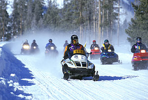 Snowmobile - A snowmobile tour at Yellowstone National Park.
