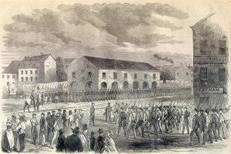 Romney Expedition - Confederate Militia mustering in Winchester, Virginia Harper's Weekly, 1861.