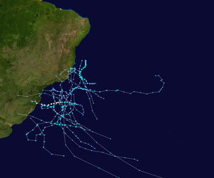 South Atlantic tropical cyclone - Tracks of significant South Atlantic tropical and subtropical cyclones since 2004