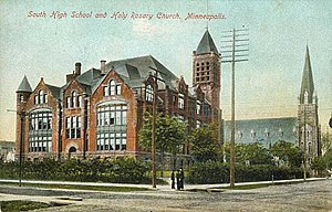 South High School (Minneapolis) - Postcard featuring South High School in 1900
