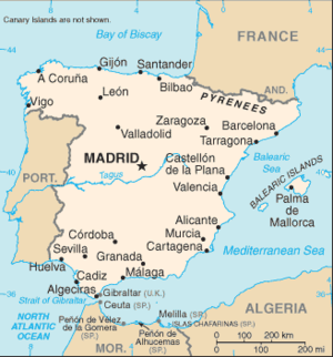 An enlargeable basic map of Spain