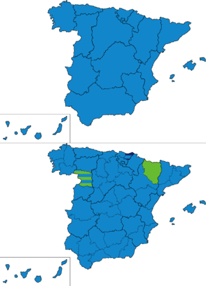 Spanish general election, 1879 - Most voted party by regions and provinces.