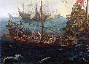 Battle of the Strait of Gibraltar (1591) - A Spanish galley in action
