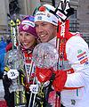 Sprintvinnarna i världscupen 2012-13 Kikkan Randall och Emil Jönsson.jpg