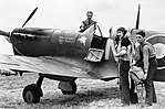 Squadron Leader N G Pedley, the CO of No. 131 Squadron RAF, about to set out on a sweep in his Supermarine Spitfire Mk VB from Merston, a satellite airfield of Tangmere in Sussex, June 1942. CH5883.jpg