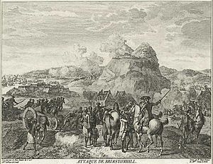 "Saint Kitts - Siege of Brimstone Hill, 1782, as described by an observer in a French engraving titled ""Attaque de Brimstomhill""."