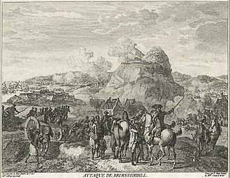 "Brimstone Hill Fortress National Park - Battle of Saint Kitts, 1782, as described by an observer in a French engraving titled ""Attaque de Brimstomhill"""