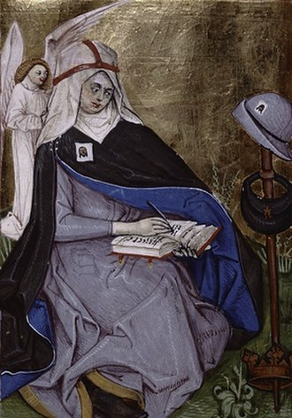 Bridget of Sweden - Saint Bridget in the religious habit and the crown of a Bridgettine nun, in a 1476 breviary of the form of the Divine Office unique to her Order
