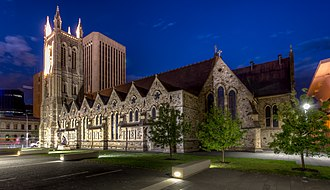 St Francis Xavier's Cathedral, Adelaide - The cathedral at night