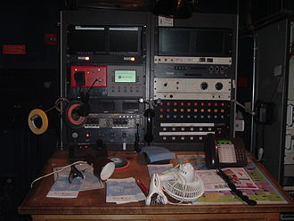 "Stage management - Part of a stage manager's panel, or ""Prompt corner."""