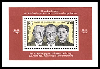 Red Orchestra (espionage) - Arvid Harnack, Harro Schulze-Boysen and John Sieg on a GDR stamp