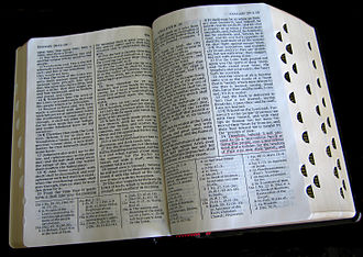 Standard works - Quadruple combination opened to the Book of Isaiah (note the cross references between Biblical and Latter-day Saint scripture in the footnotes).